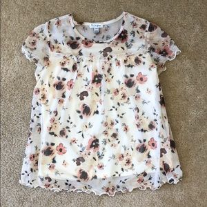 Love Fire Cream Floral Printed Mesh Top M